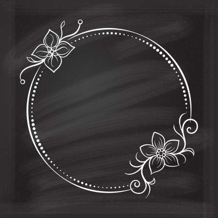 Vector round dotted frame with floral decoration on a chalkboard background