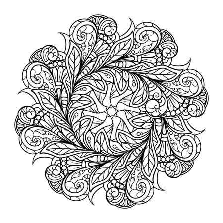 Black and white ethnic style floral mandala pattern for antistress coloring. Abstract coloring page.