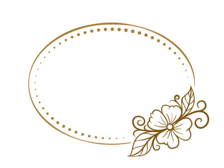 Vector horizontal oval dotted frame with floral decoration