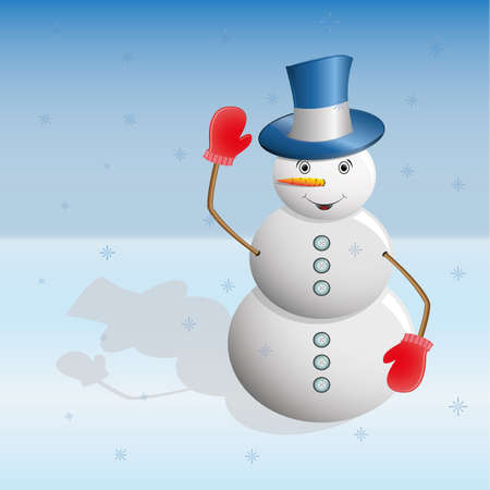 new year's cap: Snowman in a blue hat