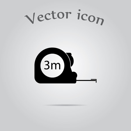 meters: Construction measuring tape illustration. Vector icons three meters