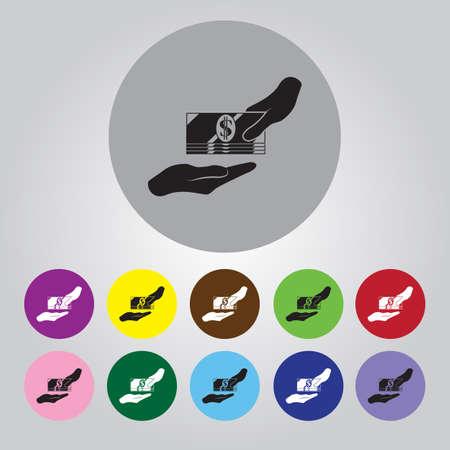 receiving: Receiving Money Icon. Vector Illustration