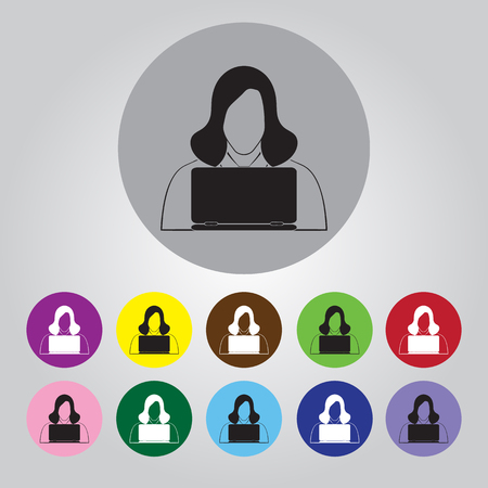 person computer: People with computer icon Illustration