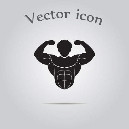 Bodybuilder sport icon Stock Illustratie