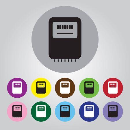 kilowatt: Electricity power counter icon. Measurement sign. Three-phase. Vector Illustration