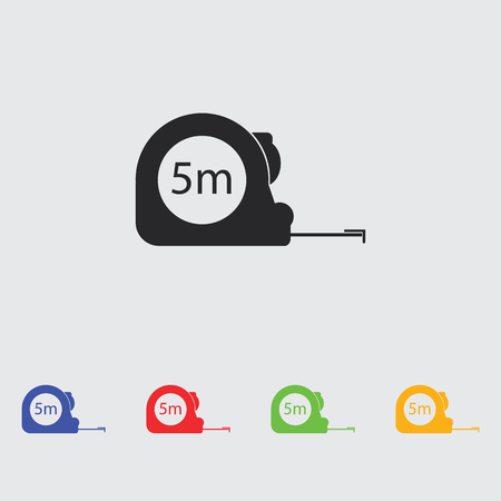 cintas metricas: Construction measuring tape illustration. Vector icons five meters Vectores