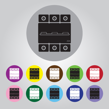 conductivity: Three-phase machine 25 amps icon Illustration