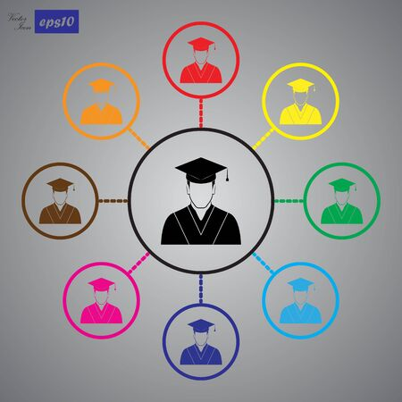 graduated: Graduated student. Vector icon Illustration