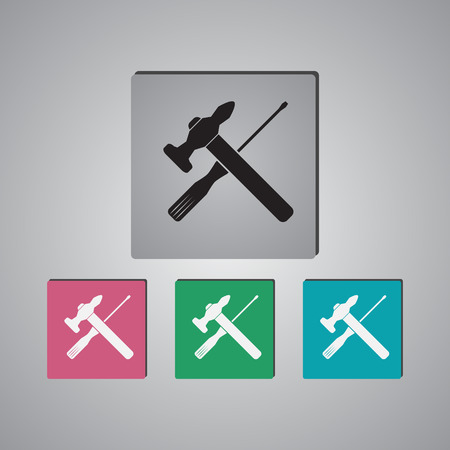 tooling: Vector Hammer and Screwdriver Icon Illustration