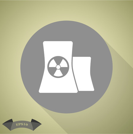 radiation sign: Icon of atomic power station with radiation sign on pipe