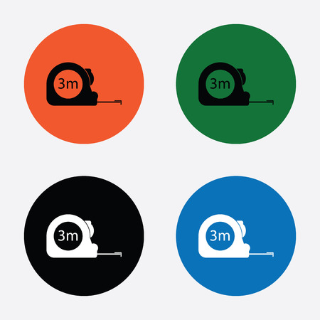 gauging: Construction measuring tape illustration. Vector icons three meters
