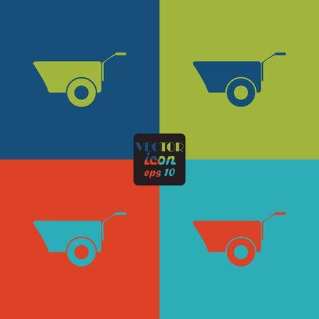hauling: Construction wheelbarrow icon Illustration