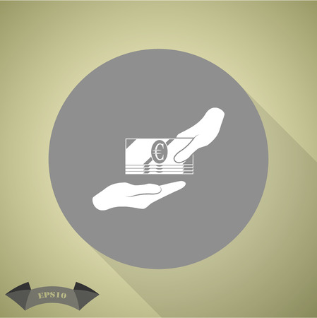 corrupted: Receiving Money Icon. Vector Illustration