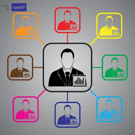 ejecutivo en oficina: El hombre de negocios - gráfico de negocios
