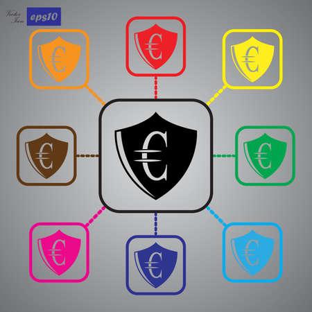 protection icon: Euro Protection vector icon.