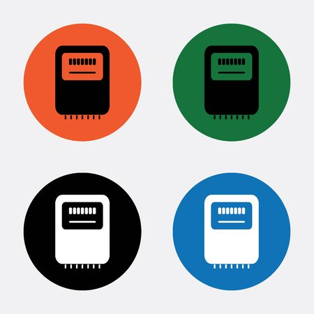instrument panel: Electricity power counter icon. Measurement sign. Three-phase. Vector Illustration
