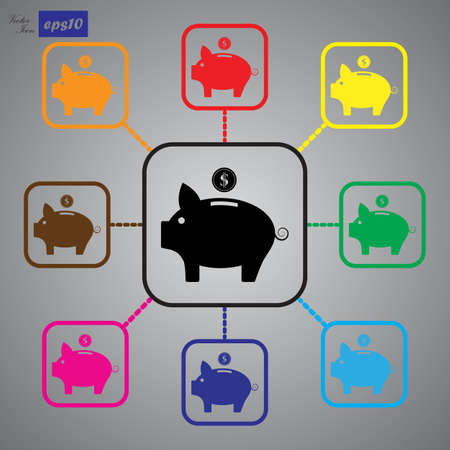 saving accounts: Vector piggy money bank icon