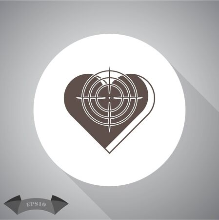 Heart at the gunpoint  - Valentines Day vector icon
