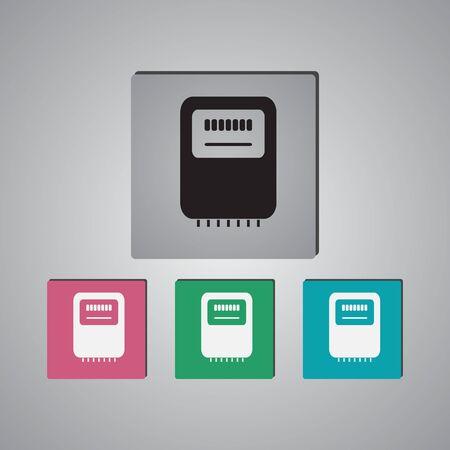 Electricity power counter icon. Measurement sign. Three-phase. Vector Illusztráció