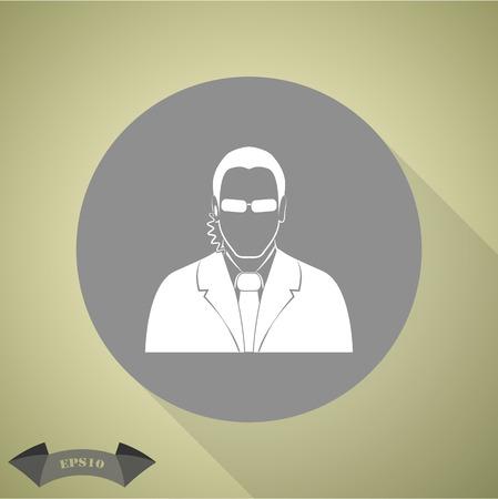 guardaespaldas: hombre agente del escolta simple icono Vectores