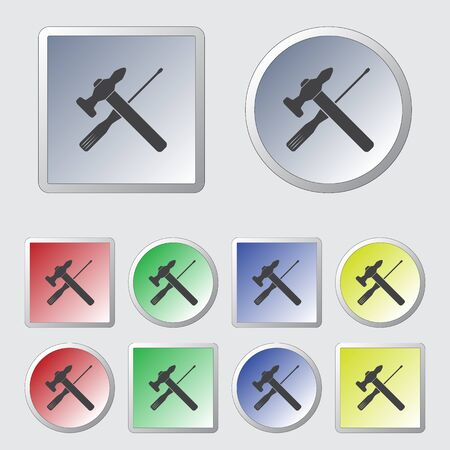 turn the screw: Vector Hammer and Screwdriver Icon Illustration