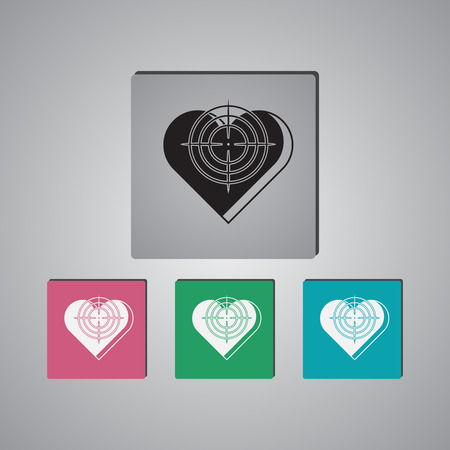 gunpoint: Heart at the gunpoint  - Valentines Day vector icon