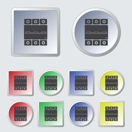 amps: Three-phase machine 25 amps icon Illustration
