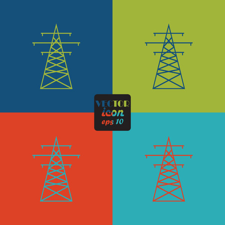 insulators: The high-voltage wire pole. Vector illustration.