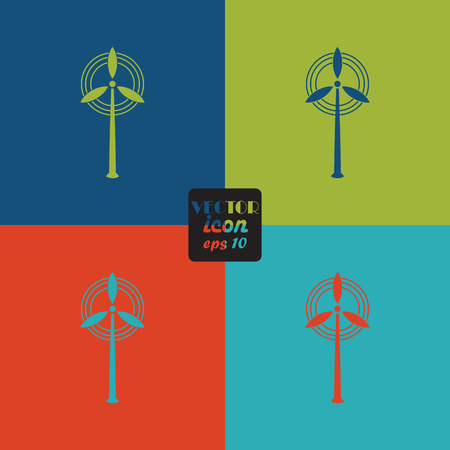 air power: Wind energy icon. Efficiency electric, generator air, environment ecology power. Illustration