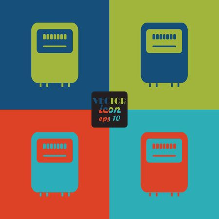 electric grid: Electricity power counter icon. Measurement sign. Vector
