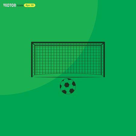 soccer goal: Soccer goal and ball Sport icon Illustration