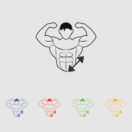 Bodybuilder and Dumbbell sport icon