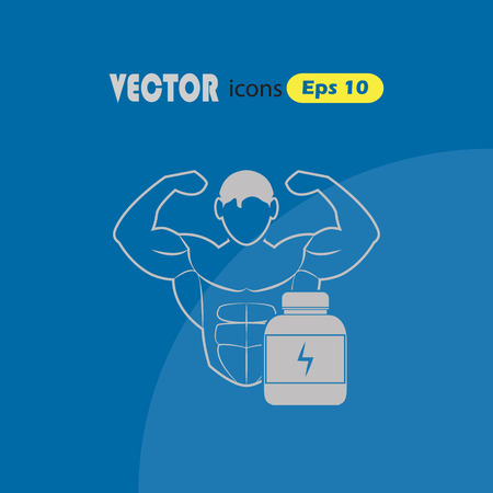 Bodybuilder and Sports nutrition. sport icon
