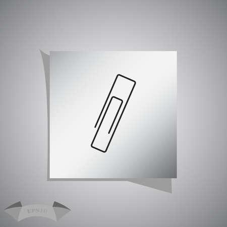paper fastener: Paper clip icon. Illustration