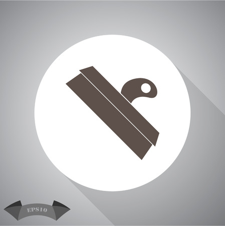 flexible: Wide spatula tool black silhouette icon with broad flexible blade
