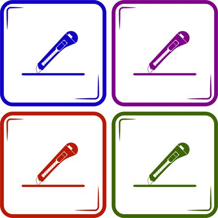 dangerous work: A sheet of paper and stationery knife. Vector illustration.