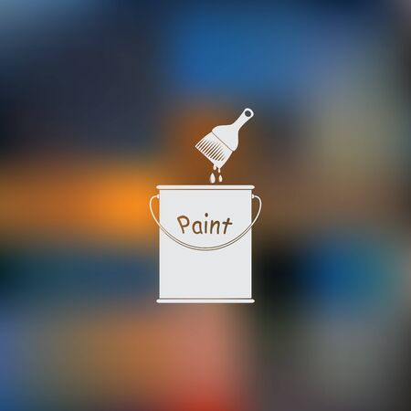 paint can: Vector Sketch Paint Can and Brush