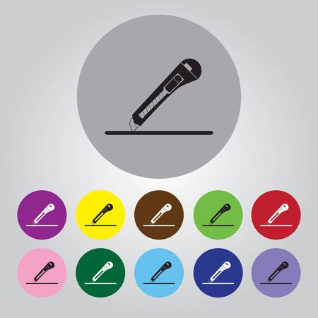 penknife: A sheet of paper and stationery knife. Vector illustration.