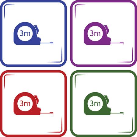 cintas metricas: Construcci�n medir la ilustraci�n de la cinta. Los iconos del vector tres metros