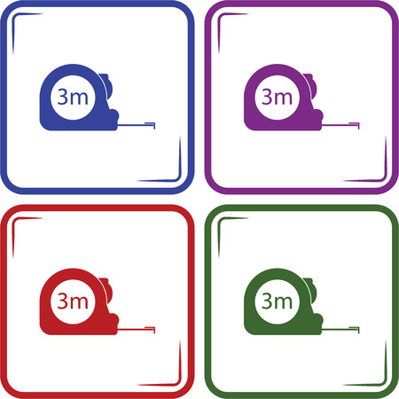 inch: Construction measuring tape illustration. Vector icons three meters