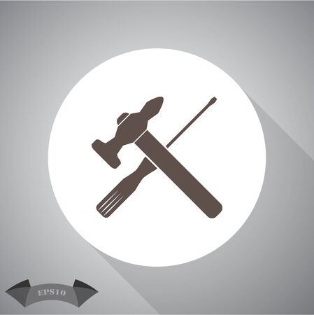 martillo: Vector de martillo y un destornillador Icono