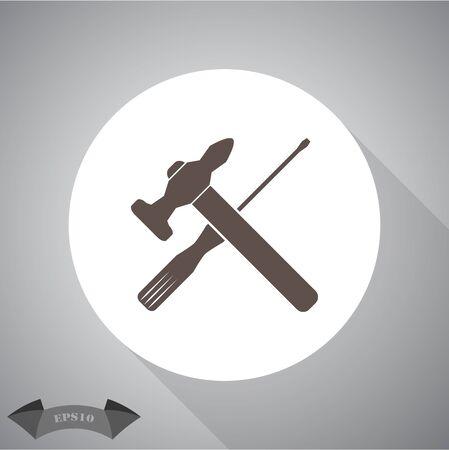 martillo: Vector de martillo y un destornillador Icono