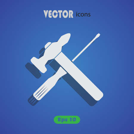 turn screw: Vector Hammer and Screwdriver Icon Illustration