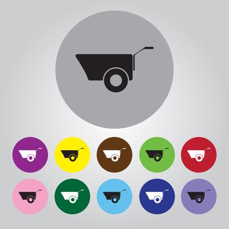 pushcart: Construction wheelbarrow icon Illustration