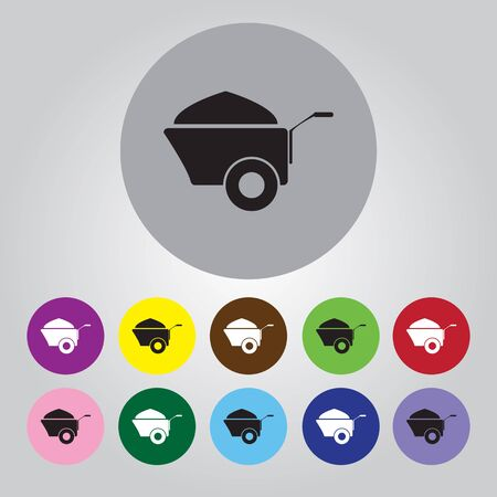humus: Construction wheelbarrow with sand vector icons Illustration