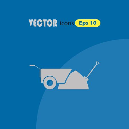 humus: Construction wheelbarrow with sand and Shovel vector icons