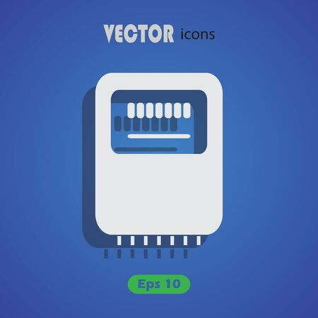 kilowatt: Electricity power counter icon. Measurement sign. Three-phase. Vector Illustration