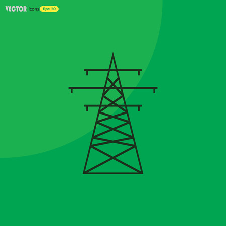 The high-voltage wire pole. Vector illustration.