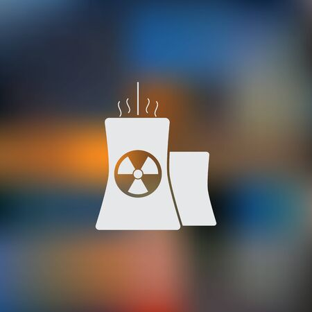 atomic: Icon of atomic power station with radiation sign on pipe