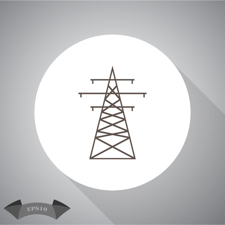 telegraph: The high-voltage wire pole. Vector illustration.